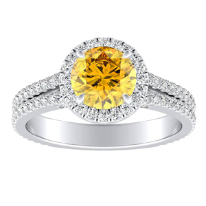 AUDREY  Halo  Yellow  Diamond  Engagement  Ring  In  14K  White  Gold  With  0.50  Carat  Round  Diamond