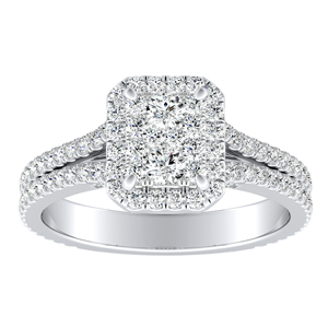 AUDREY Halo Diamond Engagement Ring In 14K White Gold With Radiant Diamond In H-I SI1-SI2 Quality