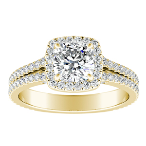 AUDREY Halo Diamond Engagement Ring In 14K Yellow Gold