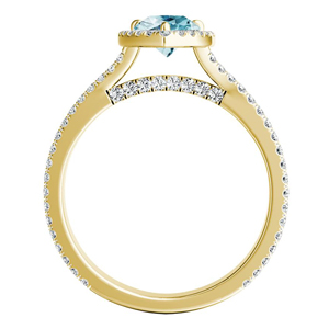 AUDREY  Halo  Aquamarine  Engagement  Ring  In  14K  Yellow  Gold  With  1.00  Carat  Pear  Stone
