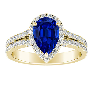 AUDREY  Halo  Blue  Sapphire  Engagement  Ring  In  14K  Yellow  Gold  With  0.50  Carat  Pear  Stone