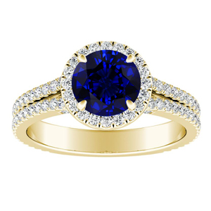 AUDREY  Halo  Blue  Sapphire  Engagement  Ring  In  14K  Yellow  Gold  With  0.50  Carat  Round  Stone