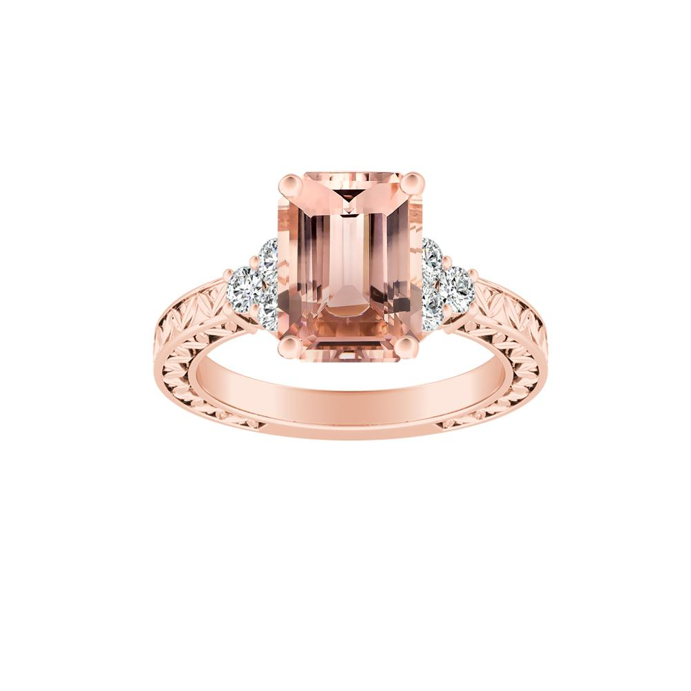 VICTORIA Vintage Style Morganite Engagement Ring In 14K Rose Gold With 1.00 Carat Emerald Stone