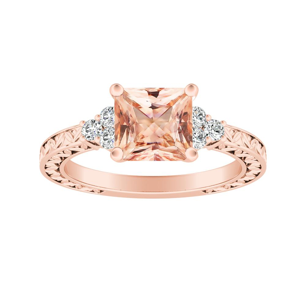 Victoria Vintage Style Morganite Engagement Ring In 14k Rose Gold With 1 00 Carat Princess Stone Diamondwish Com