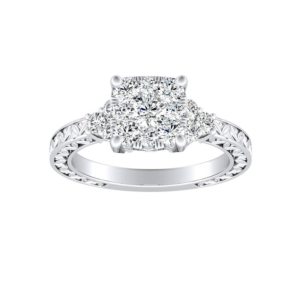 VICTORIA Vintage Style Diamond Engagement Ring In 14K White Gold With Cushion Diamond In H-I SI1-SI2 Quality