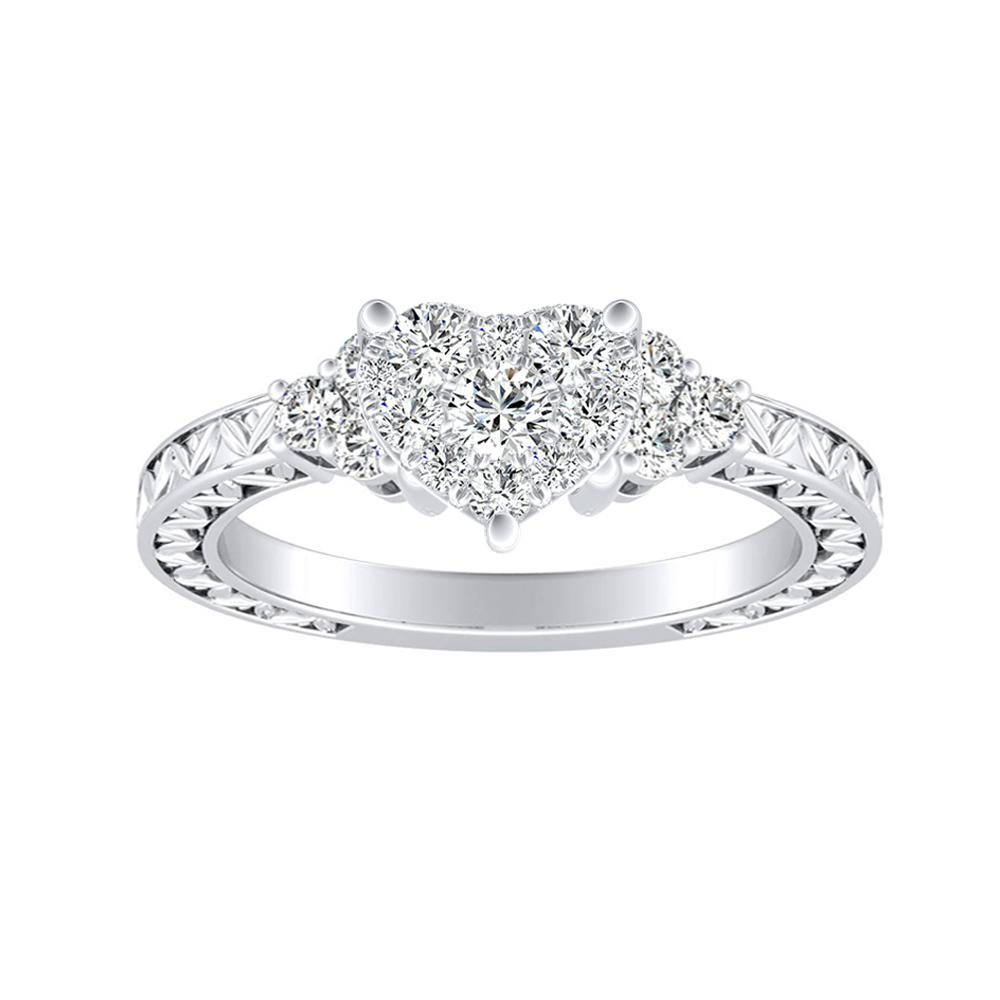 VICTORIA Vintage Style Diamond Engagement Ring In 14K White Gold With Heart Diamond In H-I SI1-SI2 Quality