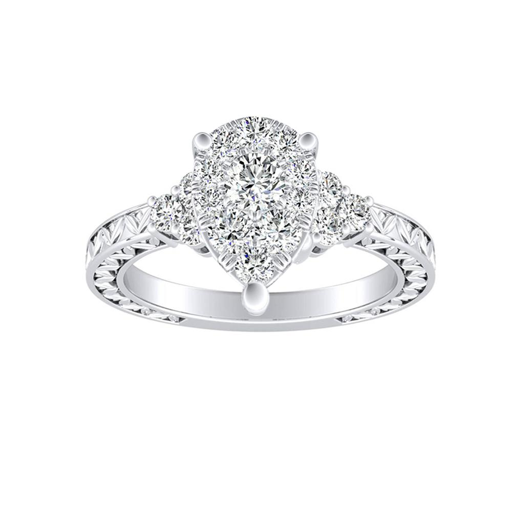 VICTORIA Vintage Style Diamond Engagement Ring In 14K White Gold With Pear Diamond In H-I SI1-SI2 Quality
