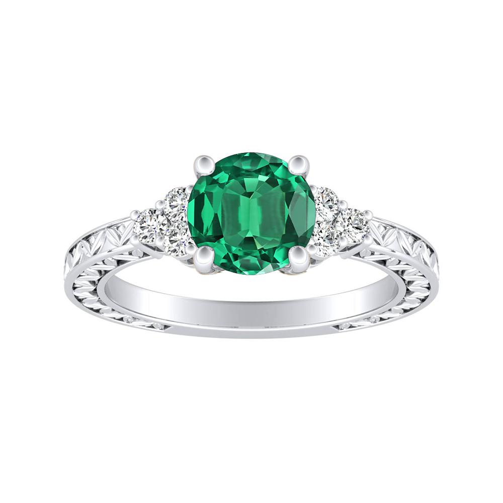 VICTORIA Vintage Style Green Emerald Engagement Ring In 14K White Gold With 0.50 Carat Round Stone