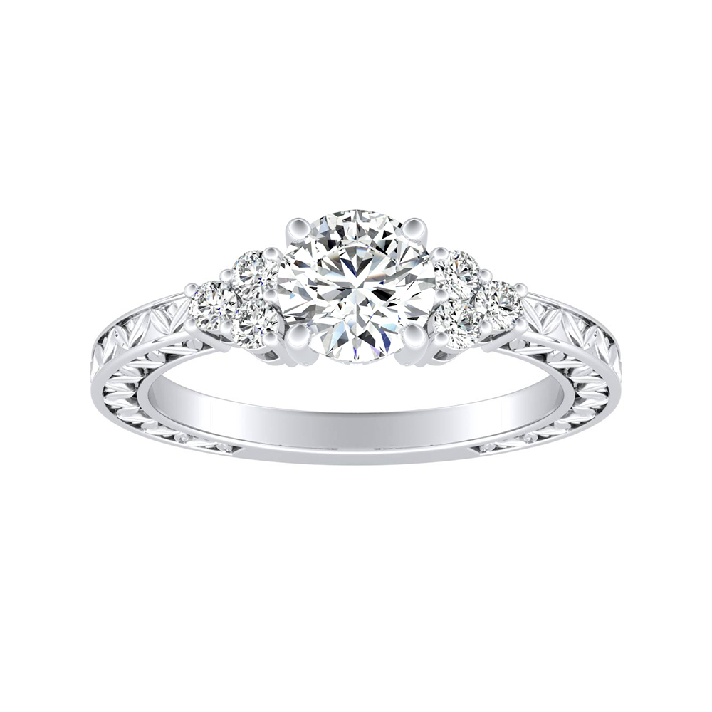 VICTORIA Vintage Style Moissanite Engagement Ring In 14K White Gold With 0.50 Carat Round Stone