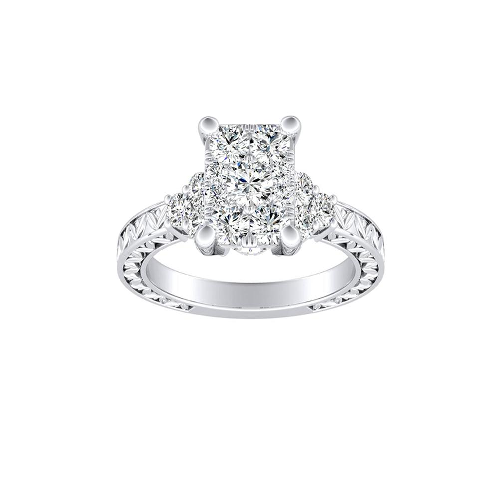 VICTORIA Vintage Style Diamond Engagement Ring In 14K White Gold With Radiant Diamond In H-I SI1-SI2 Quality
