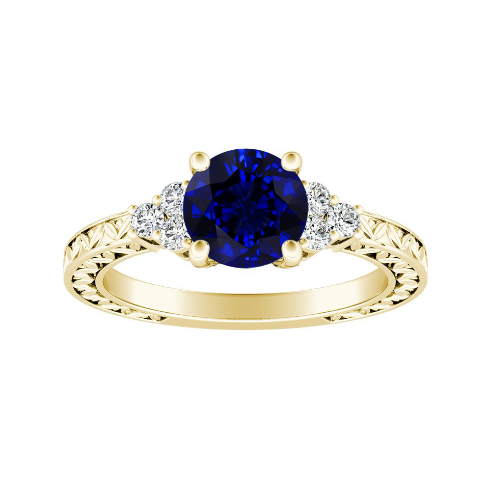 VICTORIA Vintage Style Blue Sapphire Engagement Ring In 14K Yellow Gold With 0.50 Carat Round Stone