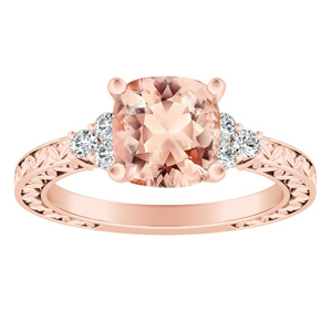 VICTORIA Vintage Style Morganite Engagement Ring In 14K Rose Gold With 1.00 Carat Cushion Stone