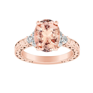 VICTORIA Vintage Style Morganite Engagement Ring In 14K Rose Gold With 1.00 Carat Oval Stone