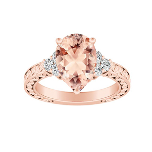 VICTORIA Vintage Style Morganite Engagement Ring In 14K Rose Gold With 1.00 Carat Pear Stone
