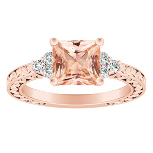 VICTORIA Vintage Style Morganite Engagement Ring In 14K Rose Gold With 1.00 Carat Princess Stone
