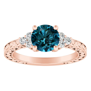 VICTORIA  Vintage  Style  Blue  Diamond  Engagement  Ring  In  14K  Rose  Gold  With  0.50  Carat  Round  Diamond