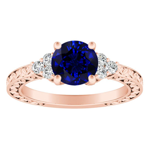 VICTORIA Vintage Style Blue Sapphire Engagement Ring In 14K Rose Gold With 0.50 Carat Round Stone
