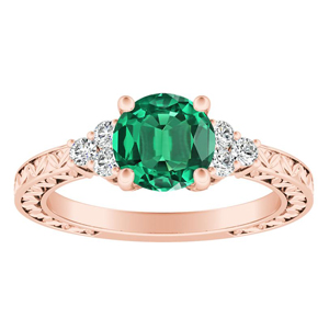 VICTORIA  Vintage  Style  Green  Emerald  Engagement  Ring  In  14K  Rose  Gold  With  0.50  Carat  Round  Stone