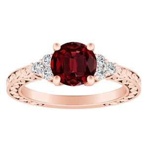 VICTORIA  Vintage  Style  Ruby  Engagement  Ring  In  14K  Rose  Gold  With  0.50  Carat  Round  Stone