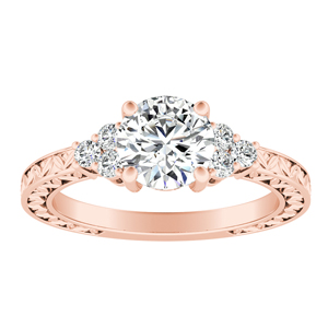 VICTORIA  Vintage  Style  Moissanite  Engagement  Ring  In  14K  Rose  Gold  With  0.50  Carat  Round  Stone