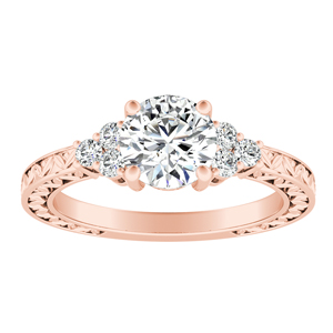 VICTORIA Vintage Style Diamond Engagement Ring In 14K Rose Gold