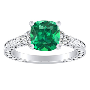VICTORIA Vintage Style Green Emerald Engagement Ring In 14K White Gold With 0.50 Carat Cushion Stone