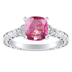 VICTORIA  Vintage  Style  Pink  Sapphire  Engagement  Ring  In  14K  White  Gold  With  0.50  Carat  Cushion  Stone