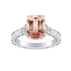 VICTORIA Vintage Style Morganite Engagement Ring In 14K White Gold With 1.00 Carat Emerald Stone