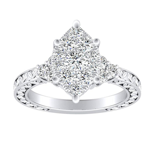 VICTORIA Vintage Style Diamond Engagement Ring In 14K White Gold With Marquise Diamond In H-I SI1-SI2 Quality