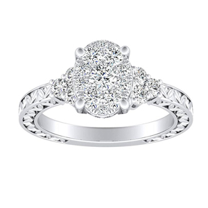 VICTORIA Vintage Style Diamond Engagement Ring In 14K White Gold With Oval Diamond In H-I SI1-SI2 Quality