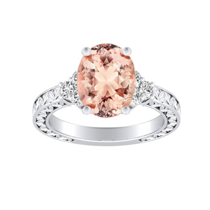 VICTORIA Vintage Style Morganite Engagement Ring In 14K White Gold With 1.00 Carat Oval Stone