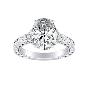 VICTORIA Vintage Style Diamond Engagement Ring In 14K White Gold