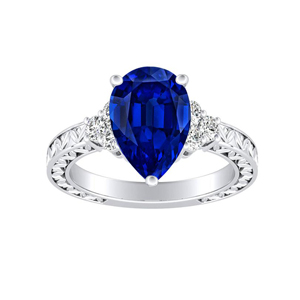 VICTORIA  Vintage  Style  Blue  Sapphire  Engagement  Ring  In  14K  White  Gold  With  0.50  Carat  Pear  Stone