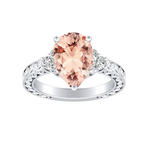 VICTORIA Vintage Style Morganite Engagement Ring In 14K White Gold With 1.00 Carat Pear Stone