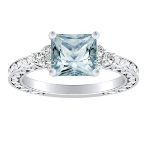 VICTORIA  Vintage  Style  Aquamarine  Engagement  Ring  In  14K  White  Gold  With  1.00  Carat  Princess  Stone