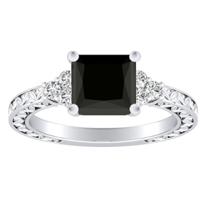 VICTORIA  Vintage  Style  Black  Diamond  Engagement  Ring  In  14K  White  Gold  With  1.00  Carat  Princess  Diamond