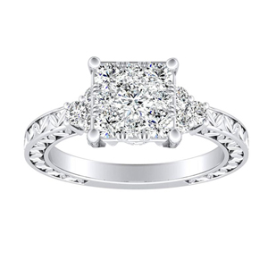 VICTORIA Vintage Style Diamond Engagement Ring In 14K White Gold With Princess Diamond In H-I SI1-SI2 Quality