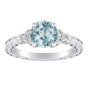 VICTORIA Vintage Style Aquamarine Engagement Ring In 14K White Gold With 1.00 Carat Round Stone
