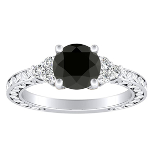 VICTORIA  Vintage  Style  Black  Diamond  Engagement  Ring  In  14K  White  Gold  With  1.00  Carat  Round  Diamond