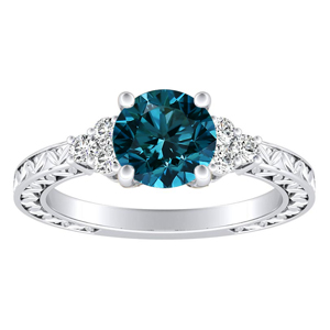 VICTORIA  Vintage  Style  Blue  Diamond  Engagement  Ring  In  14K  White  Gold  With  0.50  Carat  Round  Diamond