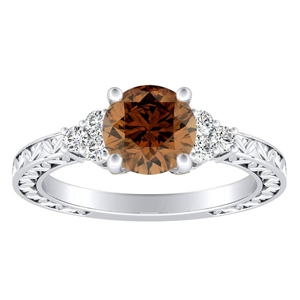 VICTORIA Vintage Style Brown Diamond Engagement Ring In 14K White Gold With 0.30 Carat Round Diamond
