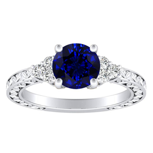 VICTORIA Vintage Style Blue Sapphire Engagement Ring In 14K White Gold With 0.30 Carat Round Stone