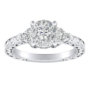 VICTORIA Vintage Style Diamond Engagement Ring In 14K White Gold With Round Diamond In H-I SI1-SI2 Quality