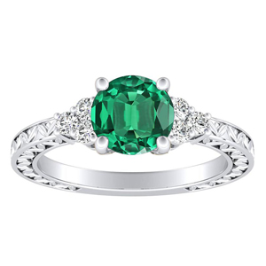 VICTORIA Vintage Style Green Emerald Engagement Ring In 14K White Gold With 0.30 Carat Round Stone