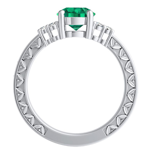 VICTORIA  Vintage  Style  Green  Emerald  Engagement  Ring  In  14K  White  Gold  With  0.50  Carat  Emerald  Stone