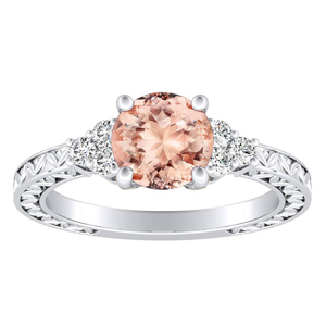 VICTORIA Vintage Style Morganite Engagement Ring In 14K White Gold With 1.00 Carat Round Stone