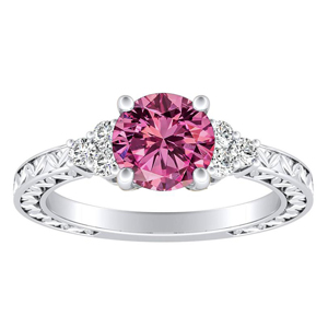 VICTORIA  Vintage  Style  Pink  Sapphire  Engagement  Ring  In  14K  White  Gold  With  0.50  Carat  Round  Stone