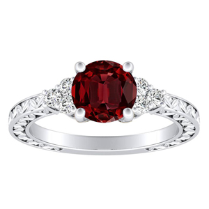 VICTORIA Vintage Style Ruby Engagement Ring In 14K White Gold With 0.30 Carat Round Stone