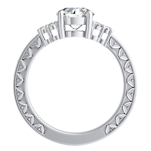 VICTORIA Vintage Style Diamond Wedding Ring Set In 14K White Gold With 0.50ct. Round Diamond