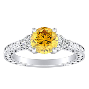 VICTORIA  Vintage  Style  Yellow  Diamond  Engagement  Ring  In  14K  White  Gold  With  0.50  Carat  Round  Diamond